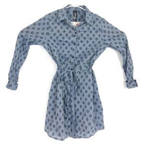 Trixxi Blue Belt Long Sleeve Dress Size M Medium